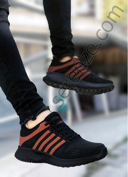 Çizgili Desen Siyah Örme Erkek Spor Ayakkabı