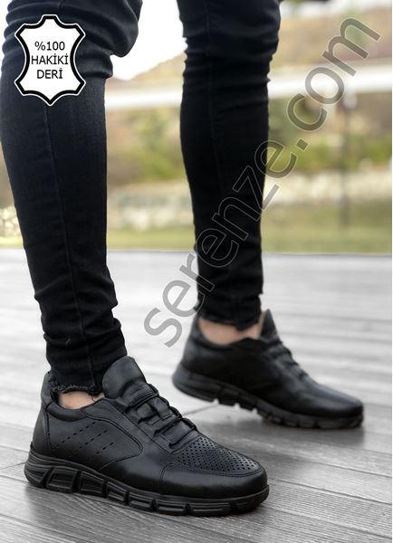 Delikli Model Hakiki Deri Siyah Taban Siyah Erkek Spor Ayakkabı