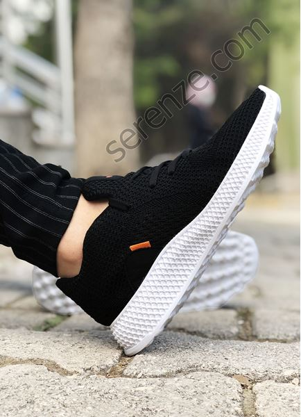 Siyah Piramit Taban Örme Triko Hafif Erkek Spor Ayakkabı
