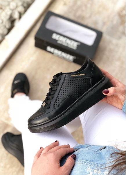 Delikli Yüksek Taban Siyah Kadın Spor Ayakkabı