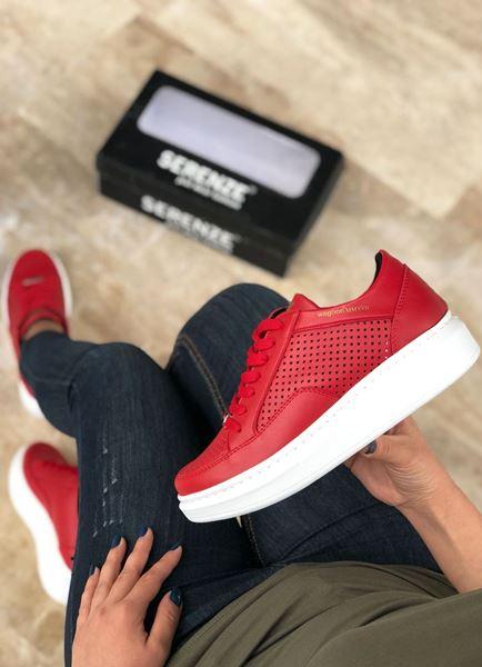Delikli Yüksek Taban Kırmızı Kadın Spor Ayakkabı