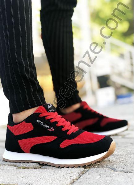 Siyah Kırmızı Yazlık Erkek Spor Ayakkabı