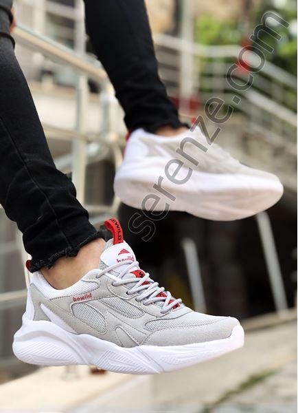 Beyaz Fileli Yüksek Taban Erkek Spor Ayakkabı