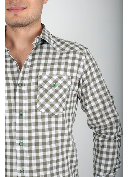 Çift Cep Yeşil Kareli Gömlek