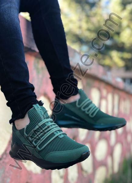 Haki Bağcık Detay Fileli Erkek Spor Ayakkabı