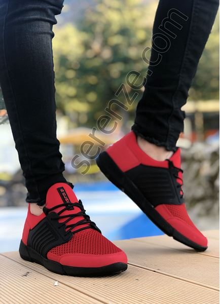 Kırmızı Siyah Air File Erkek Spor Ayakkabı