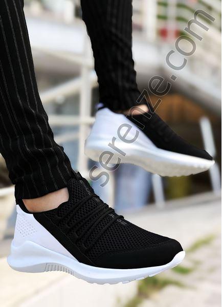 Siyah - Beyaz Bağcık Detay Fileli Erkek Spor Ayakkabı