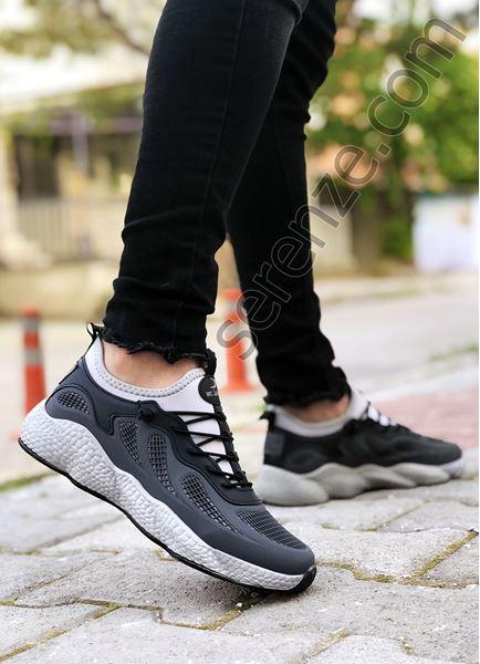 Füme Siyah Grid Desen Fileli Erkek Spor Ayakkabı