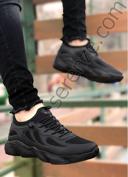 Siyah Grid Desen Fileli Erkek Spor Ayakkabı