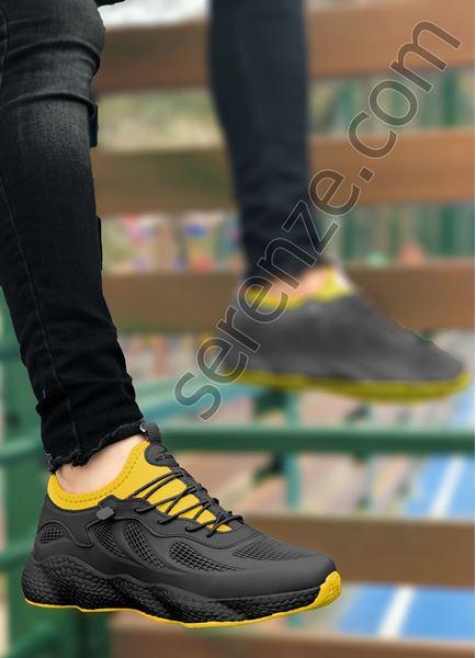 Siyah Sarı Grid Desen Fileli Erkek Spor Ayakkabı