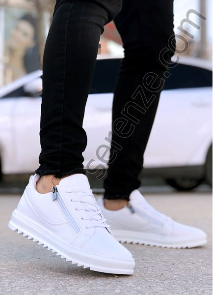 Beyaz Çift Fermuar Erkek Günlük Ayakkabı