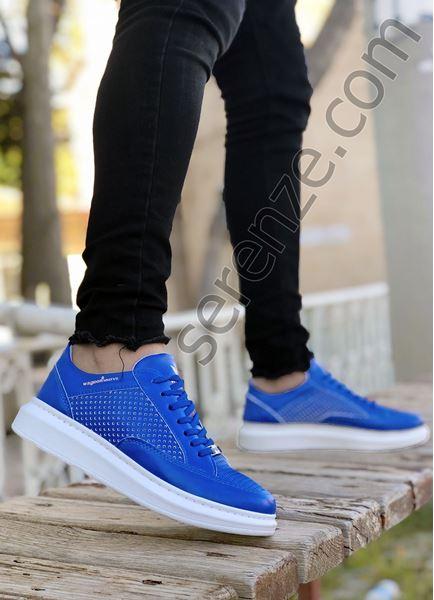 Delikli Model Yüksek Taban Mavi Erkek Spor Ayakkabı