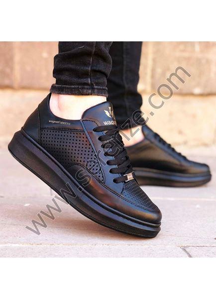 Delikli Model Yüksek Taban Siyah Erkek Spor Ayakkabı