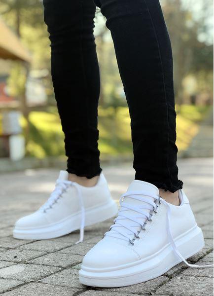 Beyaz Kancalı Yüksek Taban Erkek Spor Ayakkabı
