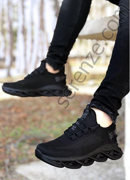 Siyah Taban Örme Triko Tekno Erkek Spor Ayakkabı