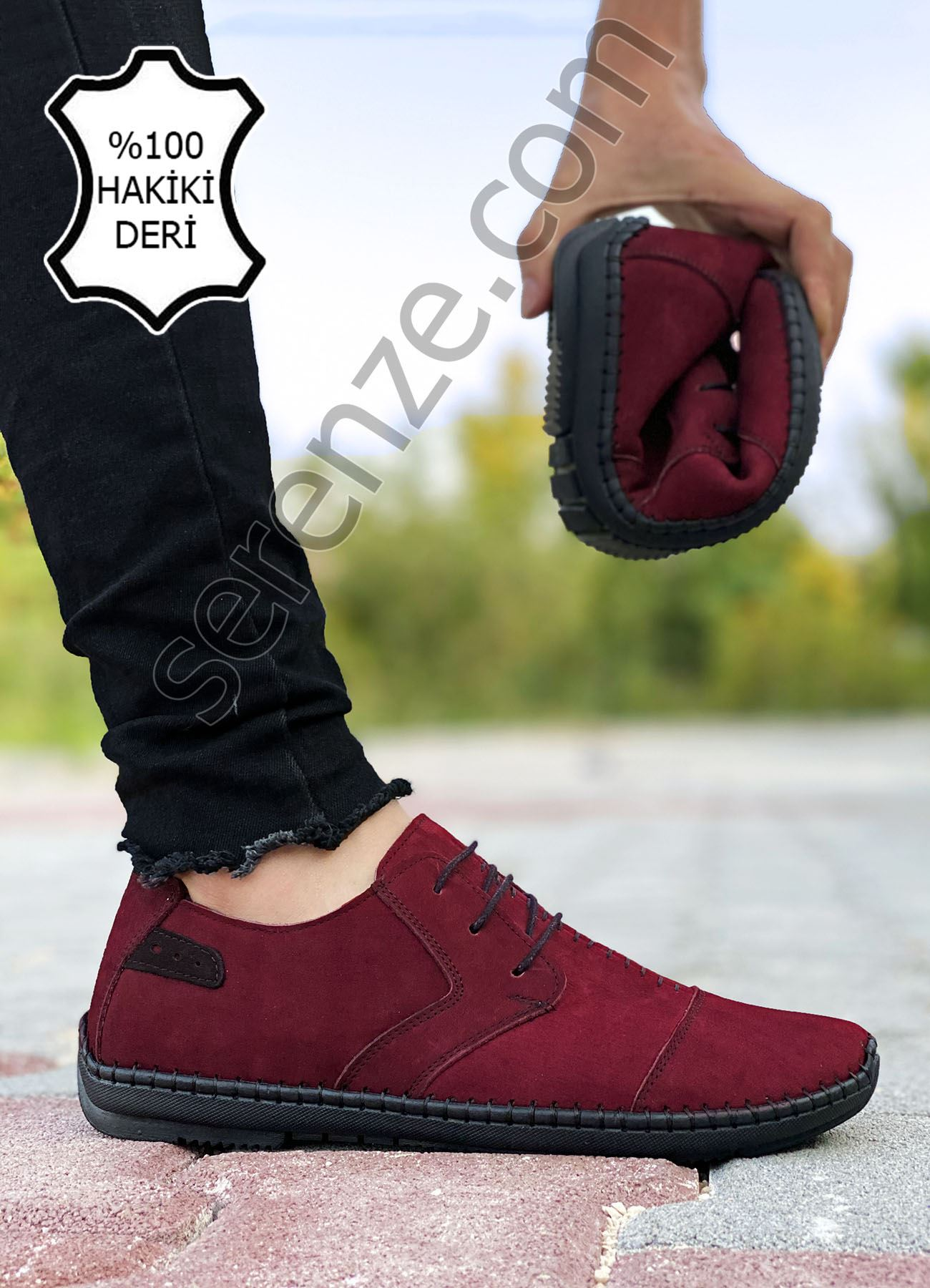 Bordo Hakiki Deri Çarık Model Rahat Erkek Günlük Ayakkabı