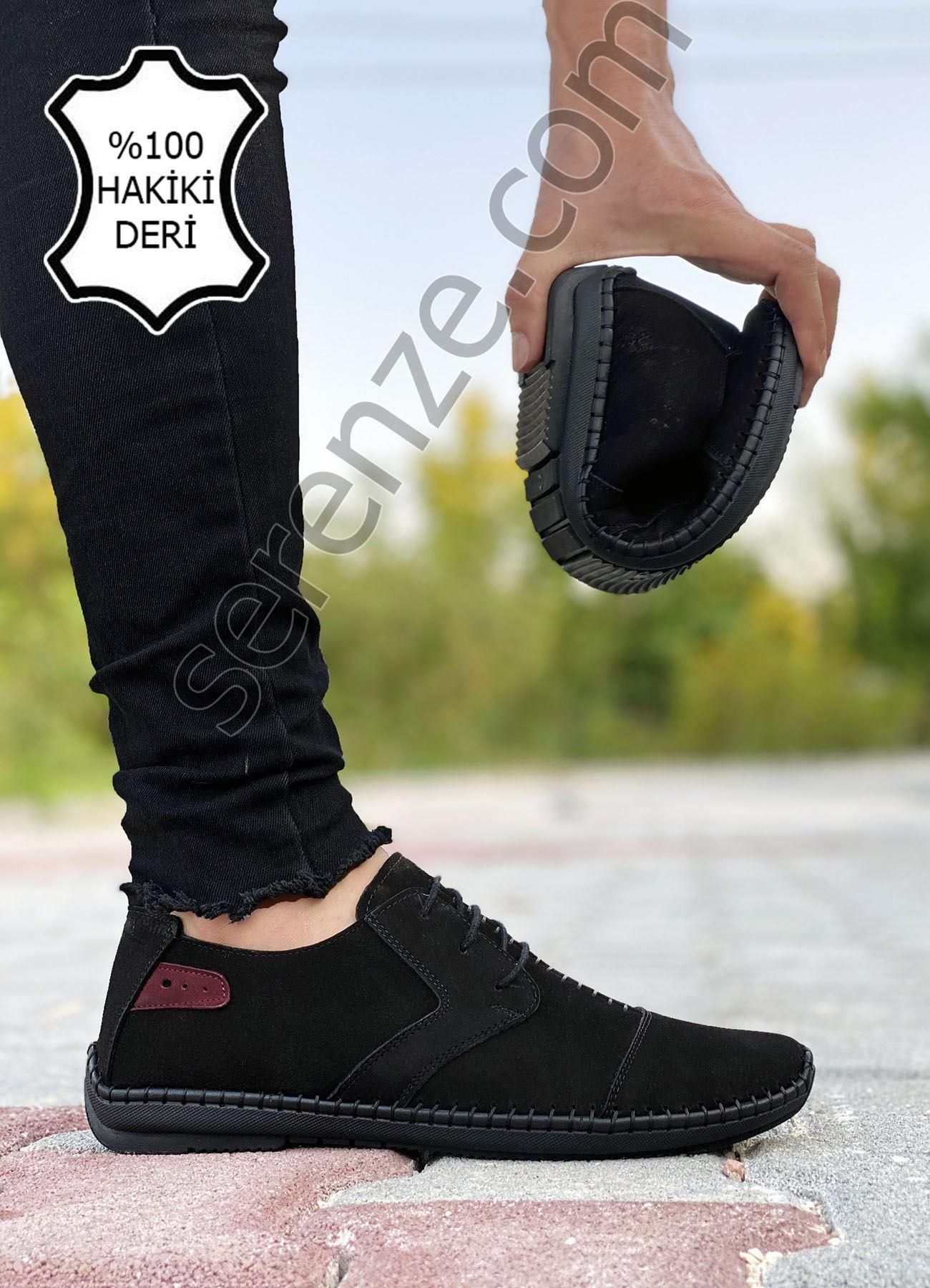 Siyah Hakiki Deri Çarık Model Rahat Erkek Günlük Ayakkabı