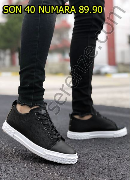 Siyah Yılan Desen Erkek Spor Ayakkabı