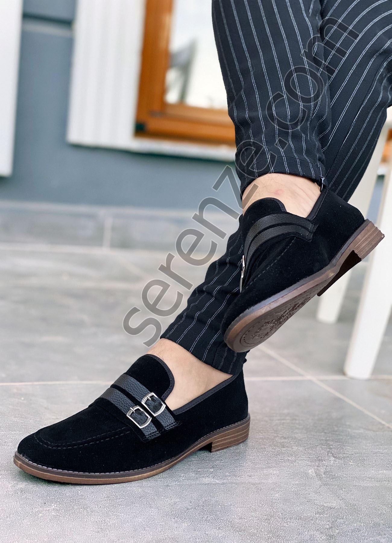Siyah Süet Tokalı Ortopedik Erkek Klasik Ayakkabı