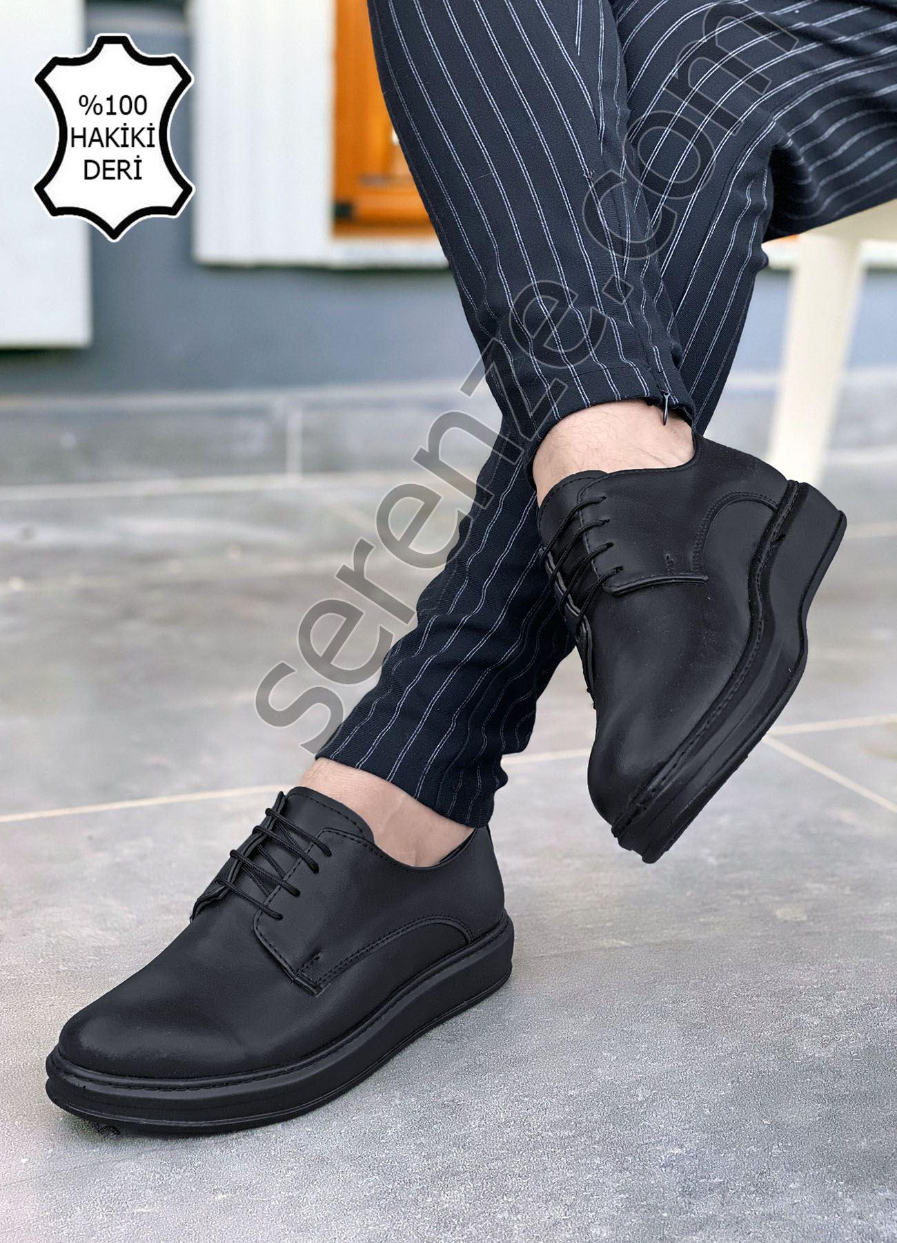 Siyah Hakiki Deri Bağcıklı Kalın Taban Erkek Klasik Ayakkabı