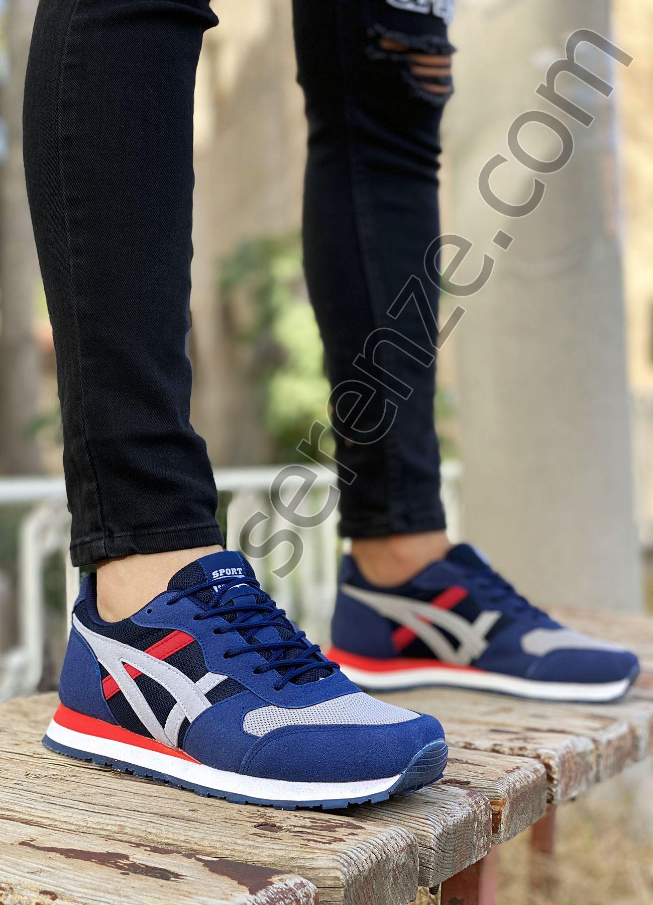 Mavi Gri Çizgi Detay Erkek Spor Ayakkabı