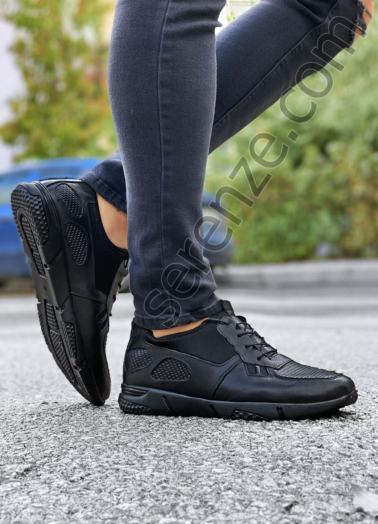 Hakiki Deri Spor Model Erkek Siyah Ayakkabı