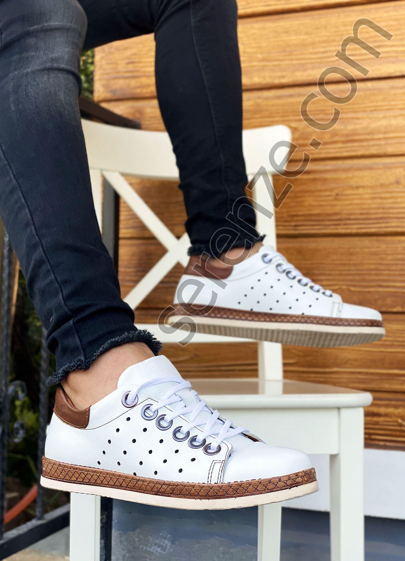 Beyaz Taba Hakiki Deri Delikli Erkek Spor Ayakkabı