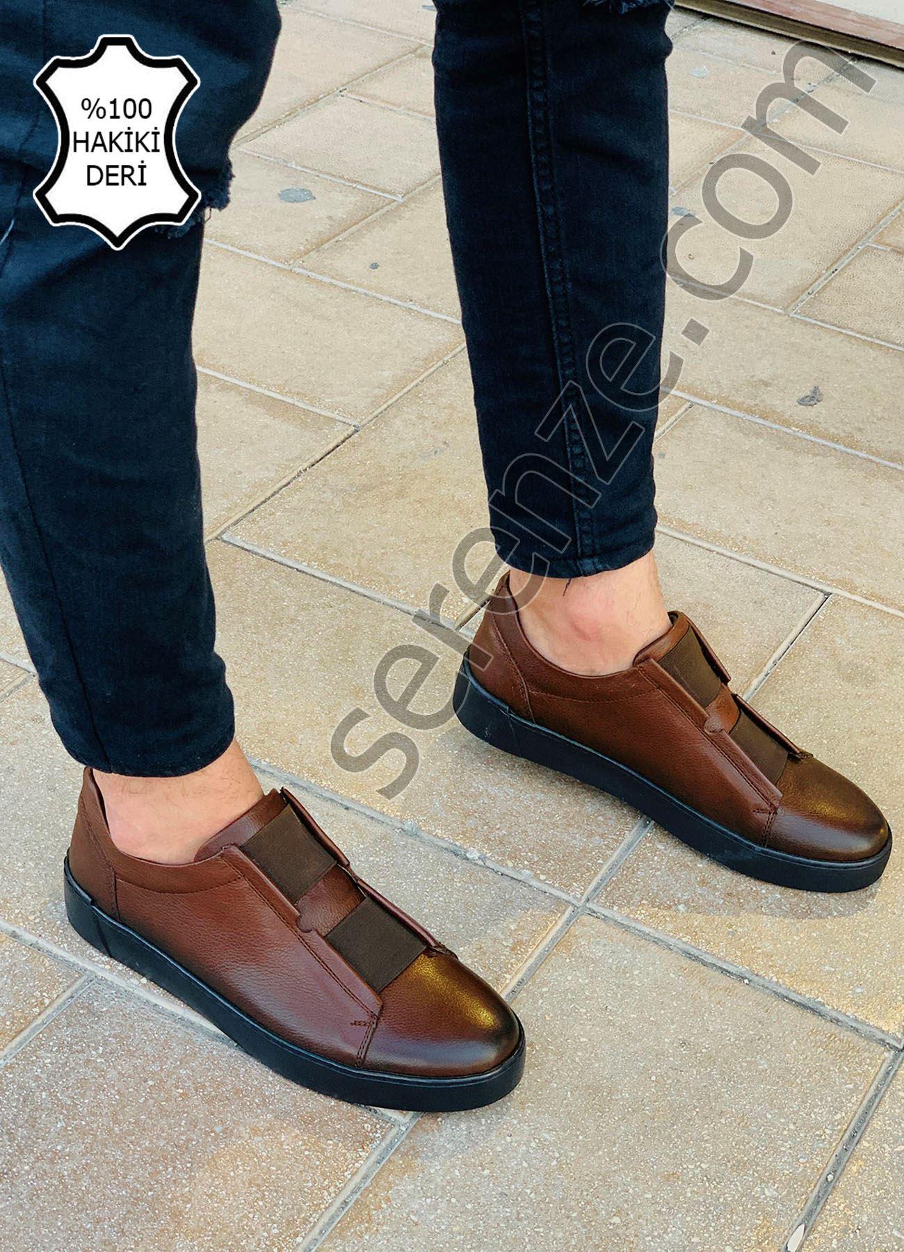 Taba Lastikli Hakiki Deri Erkek Ayakkabı