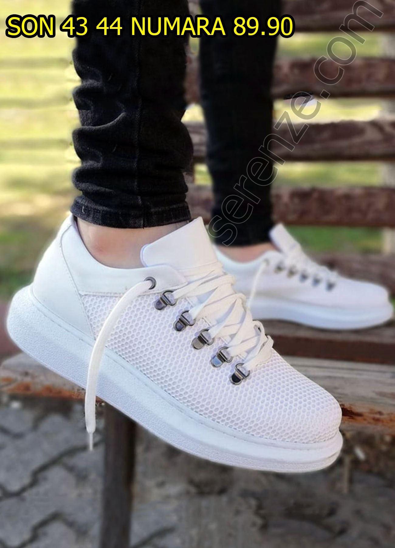 Petek Doku Yüksek Taban Beyaz Ayakkabı