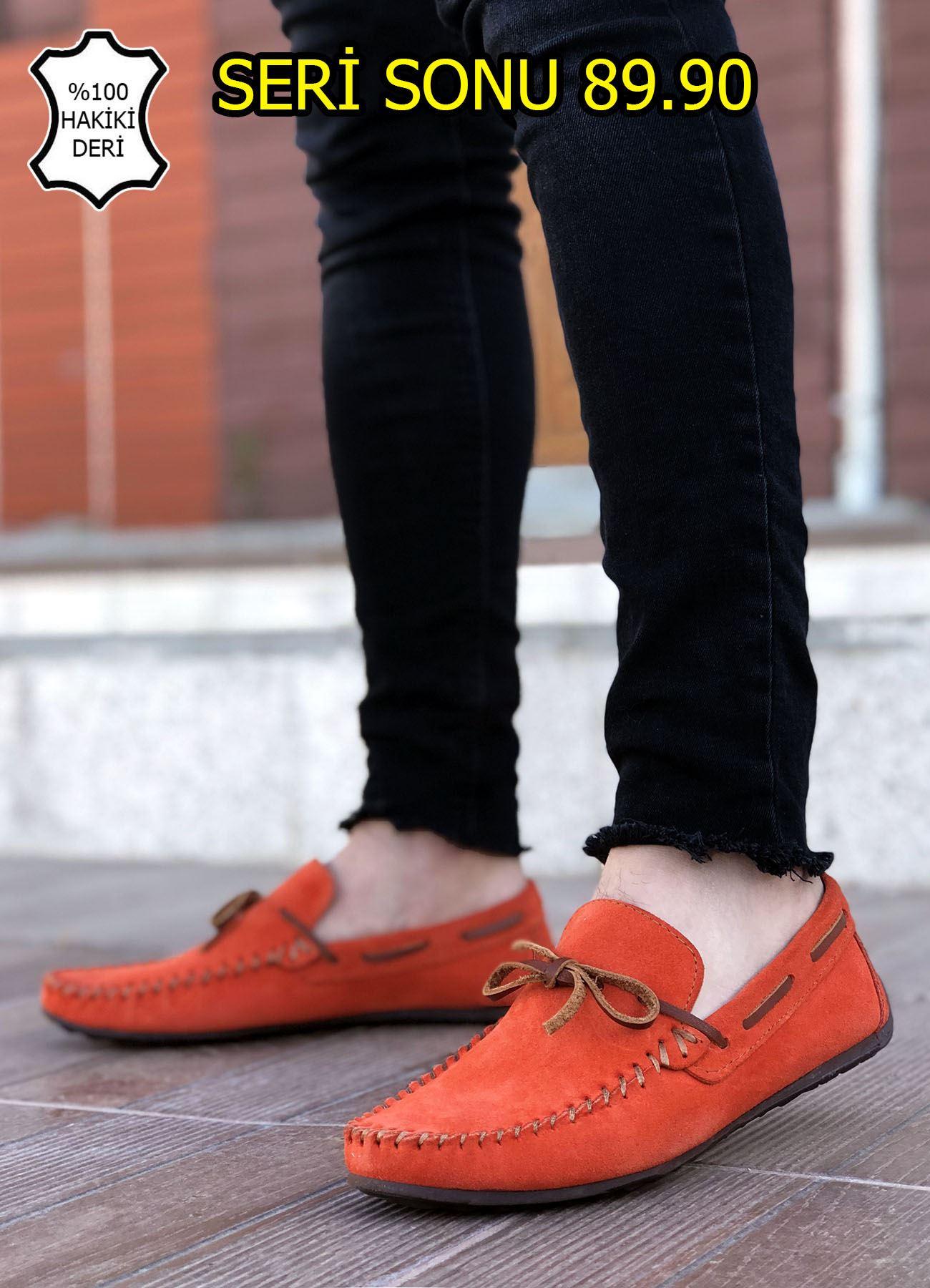 Turuncu Hakiki Süet Deri Erkek Klasik Ayakkabı