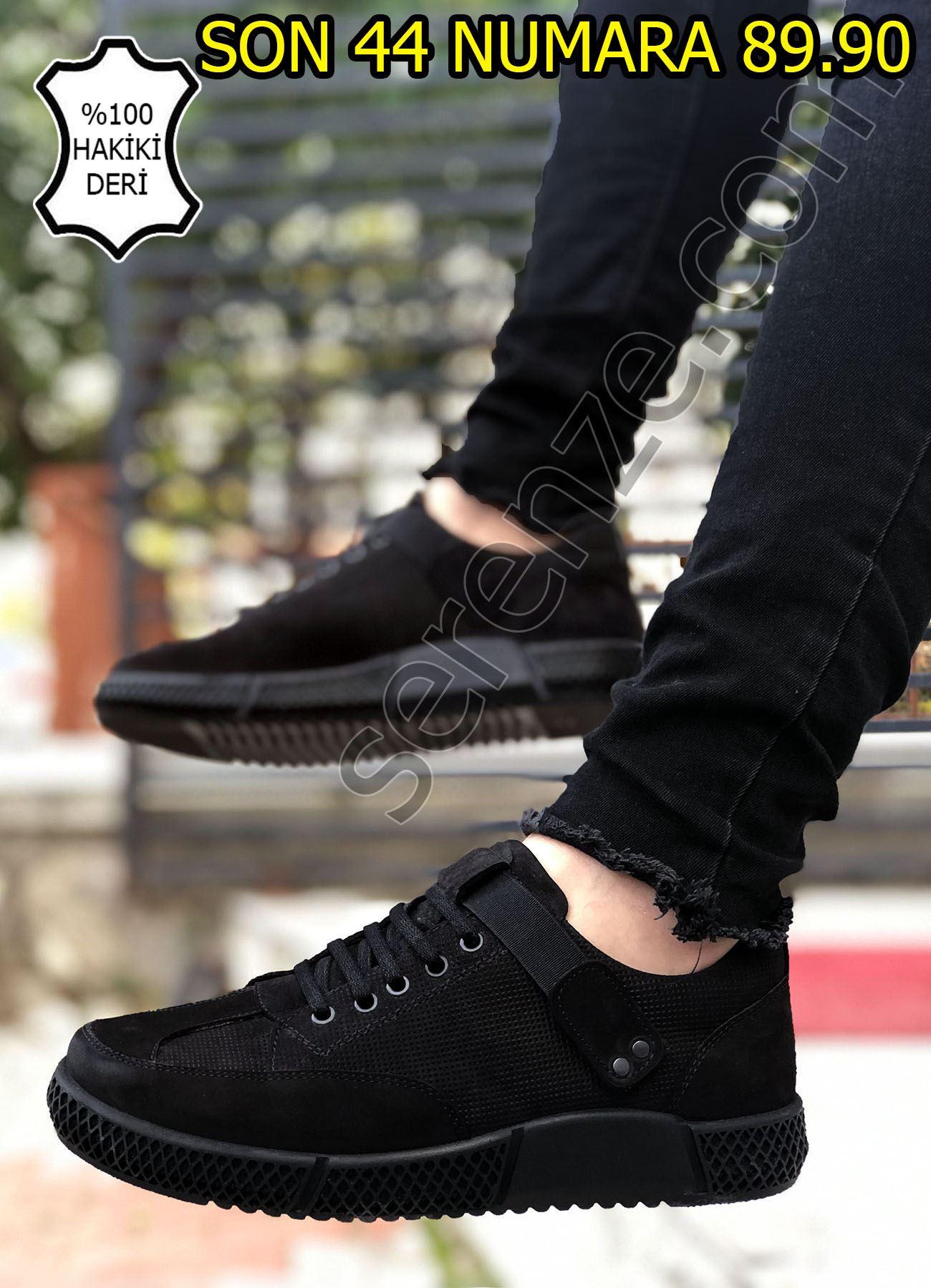 Siyah Ortopedik Lastik Detay Hakiki Deri Erkek Günlük Ayakkabı
