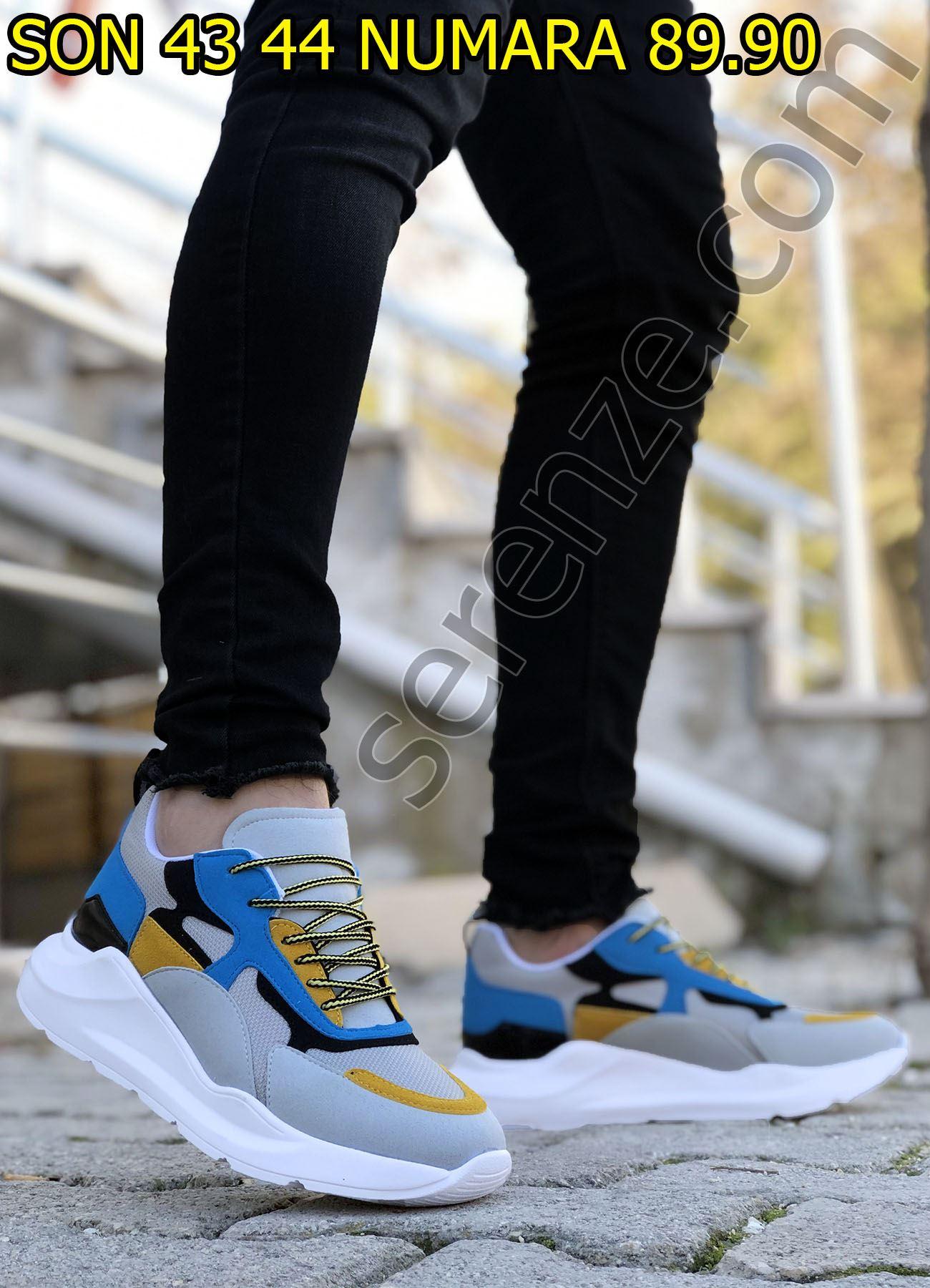 Sarı Gri Karışık Desen Erkek Spor Ayakkabı