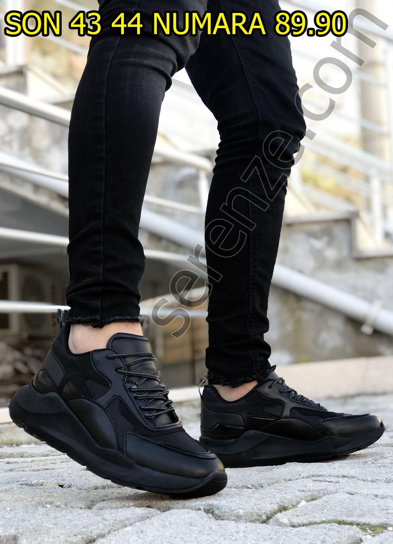 Siyah Karışık Desen Erkek Spor Ayakkabı