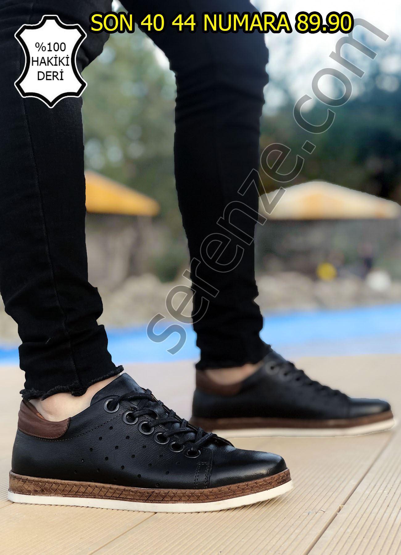 Siyah Hakiki Deri Hasır Taban Erkek Klasik Ayakkabı