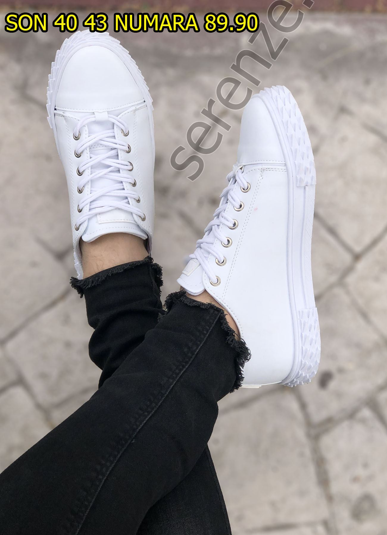 Tırtık Taban Erkek Beyaz Spor Ayakkabı