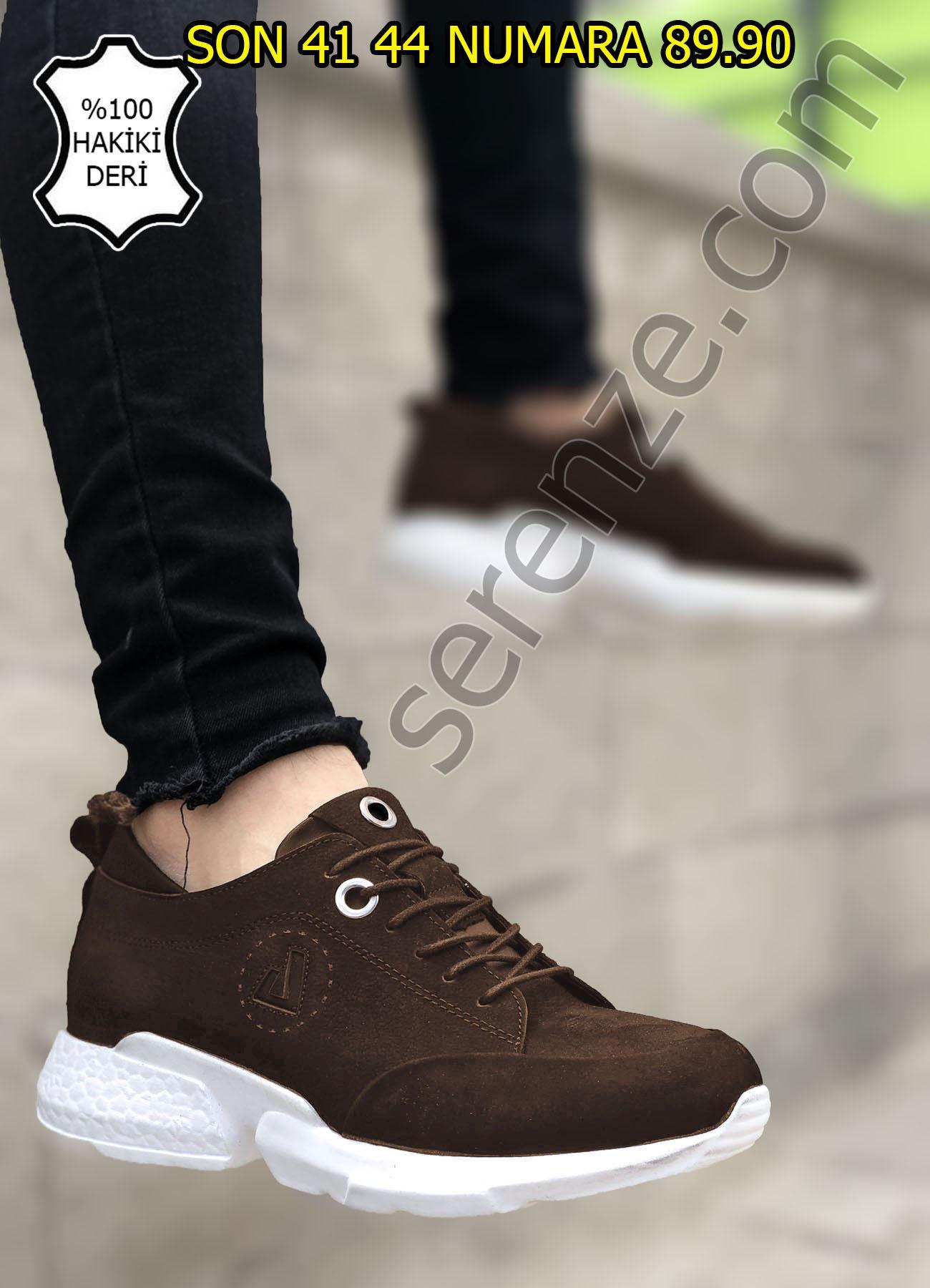 Hakiki Deri Nubuk Kahve Spor Ayakkabı