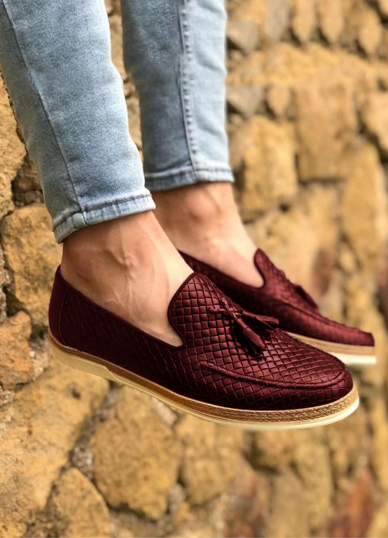 Bordo Piramit Desen Hakiki Deri Erkek Klasik Ayakkabı