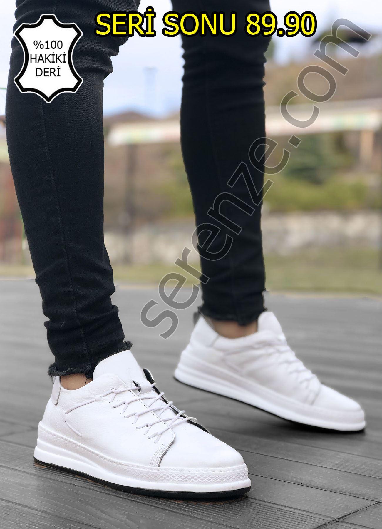 Hakiki Deri İpli Beyaz Erkek Spor Ayakkabı