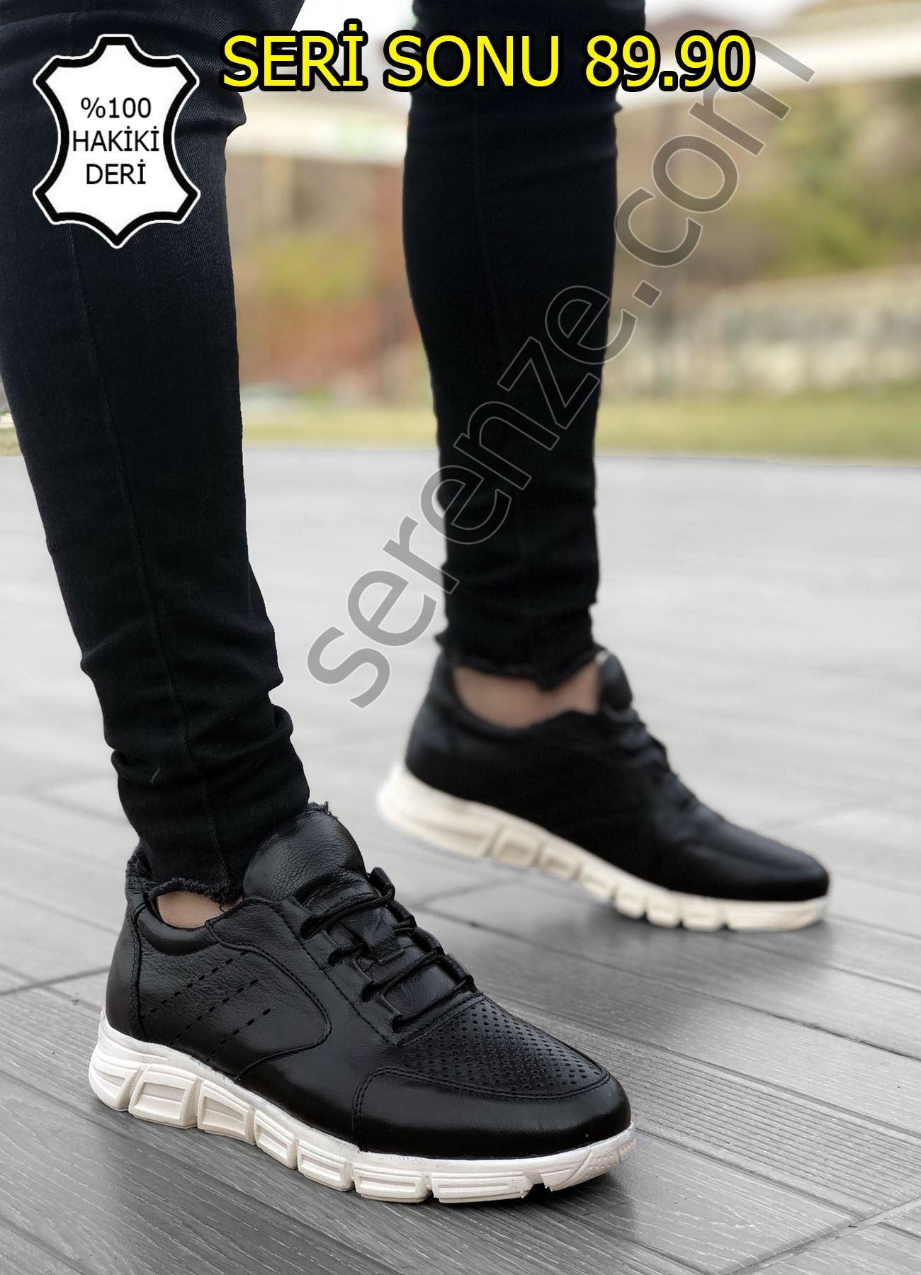 Delikli Model Hakiki Deri Siyah Erkek Spor Ayakkabı