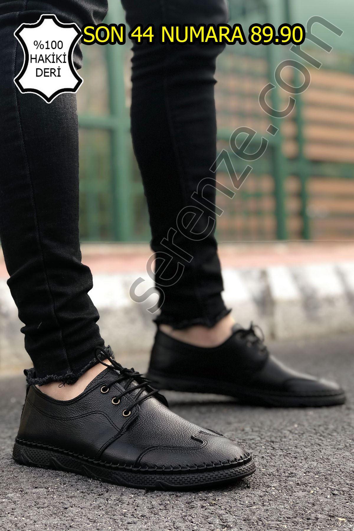 Siyah Hakiki Deri Bağcıklı Erkek Çarık Model Klasik Ayakkabı