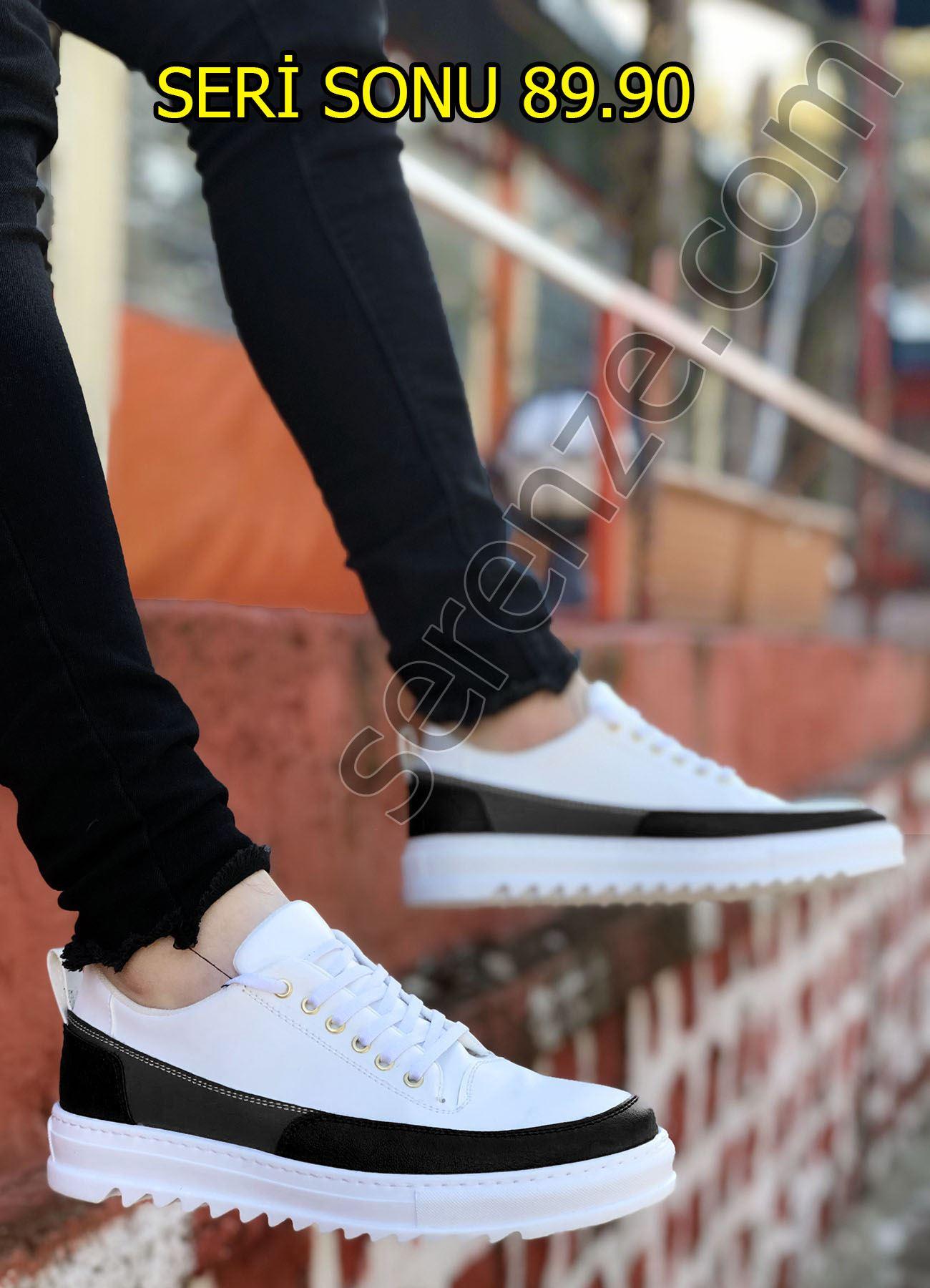 Siyah Beyaz Tırtıklı Taban Erkek Spor Ayakkabı