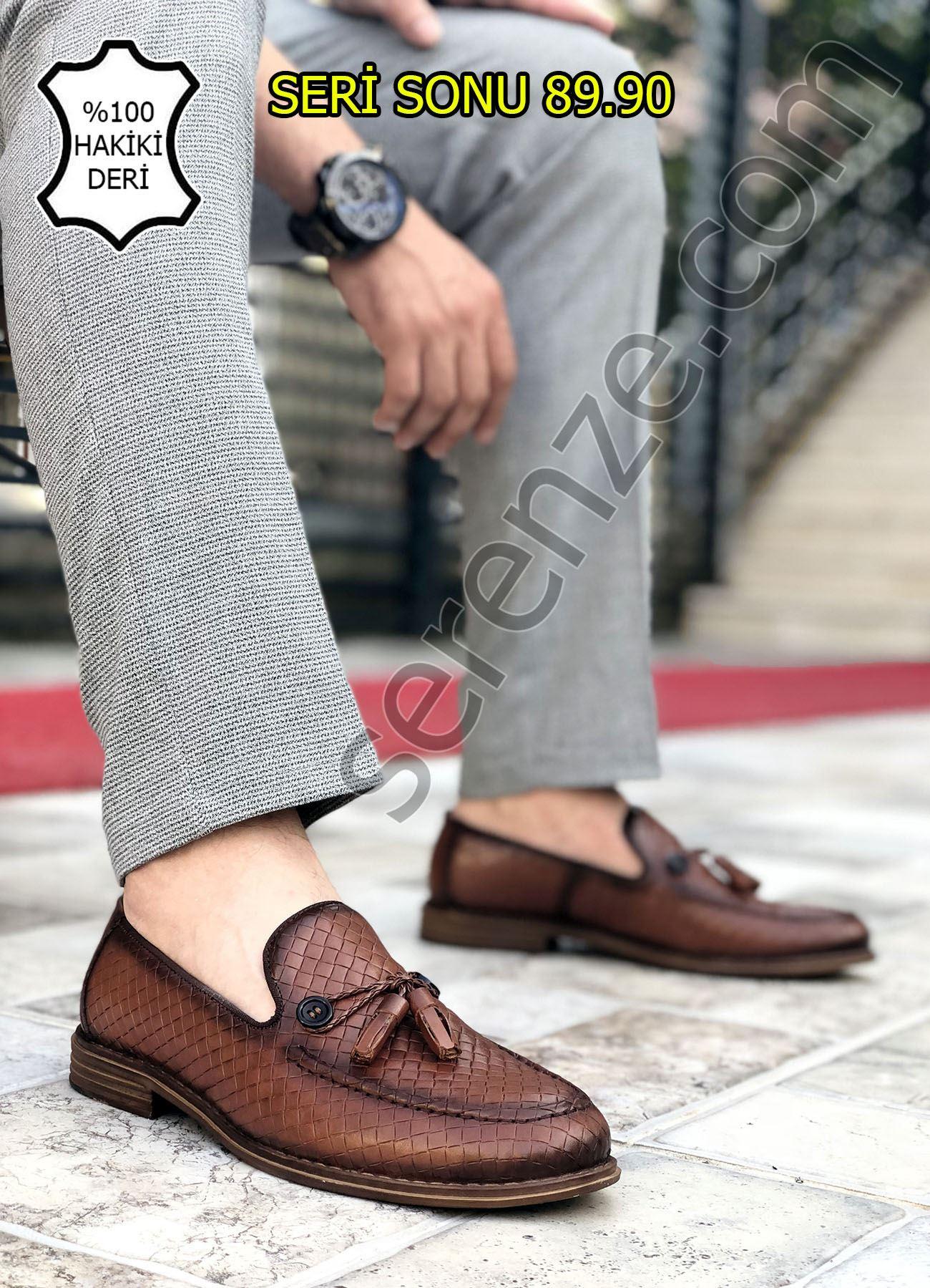 Taba Düğme Detay Hakiki Deri Erkek Klasik Ayakkabı