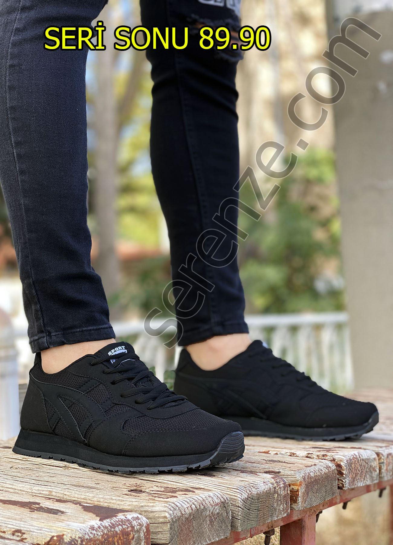 Siyah Siyah Çizgi Detay Erkek Spor Ayakkabı