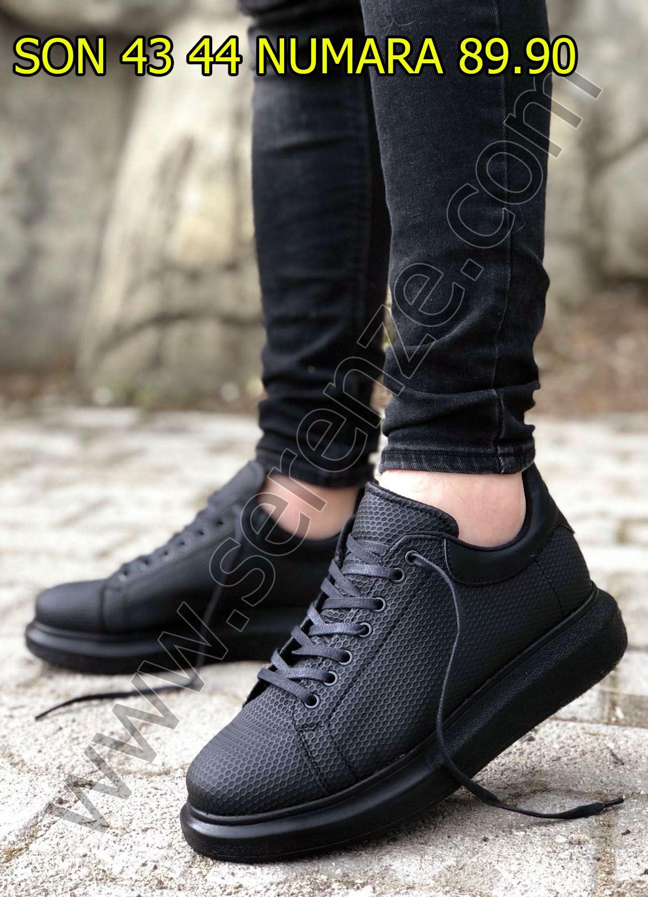 Siyah Petek Doku Erkek Spor Ayakkabı