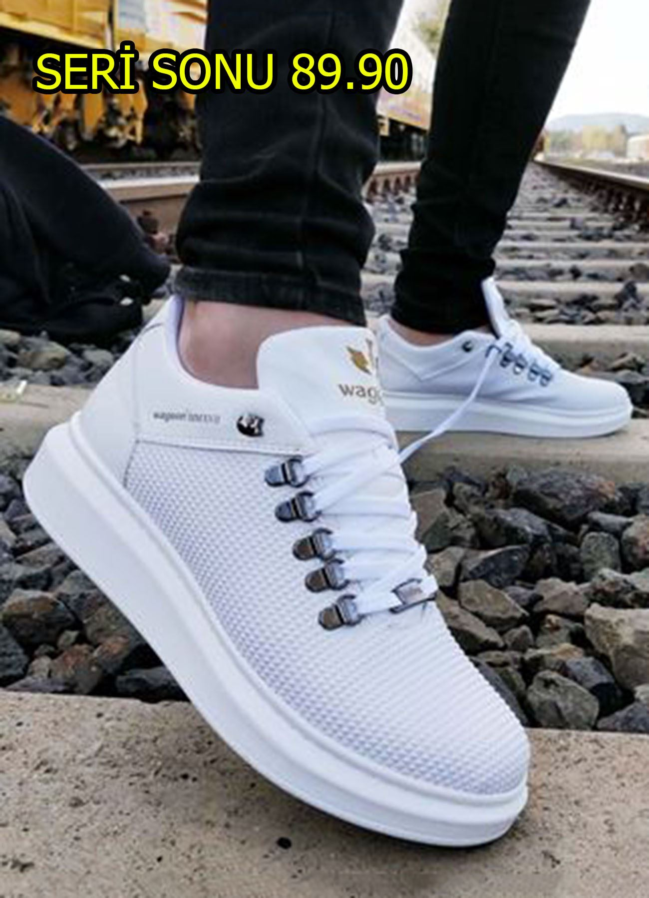 Piramit Doku Beyaz Erkek Spor Ayakkabı