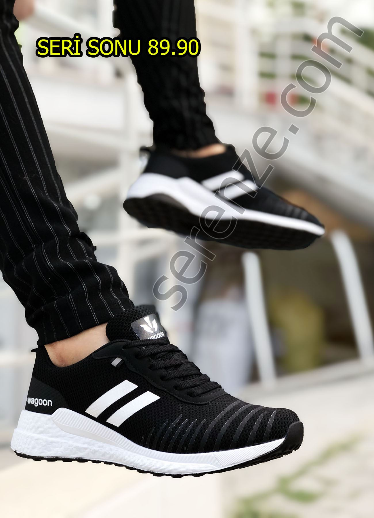 Siyah Çizgili Erkek Spor Ayakkabı