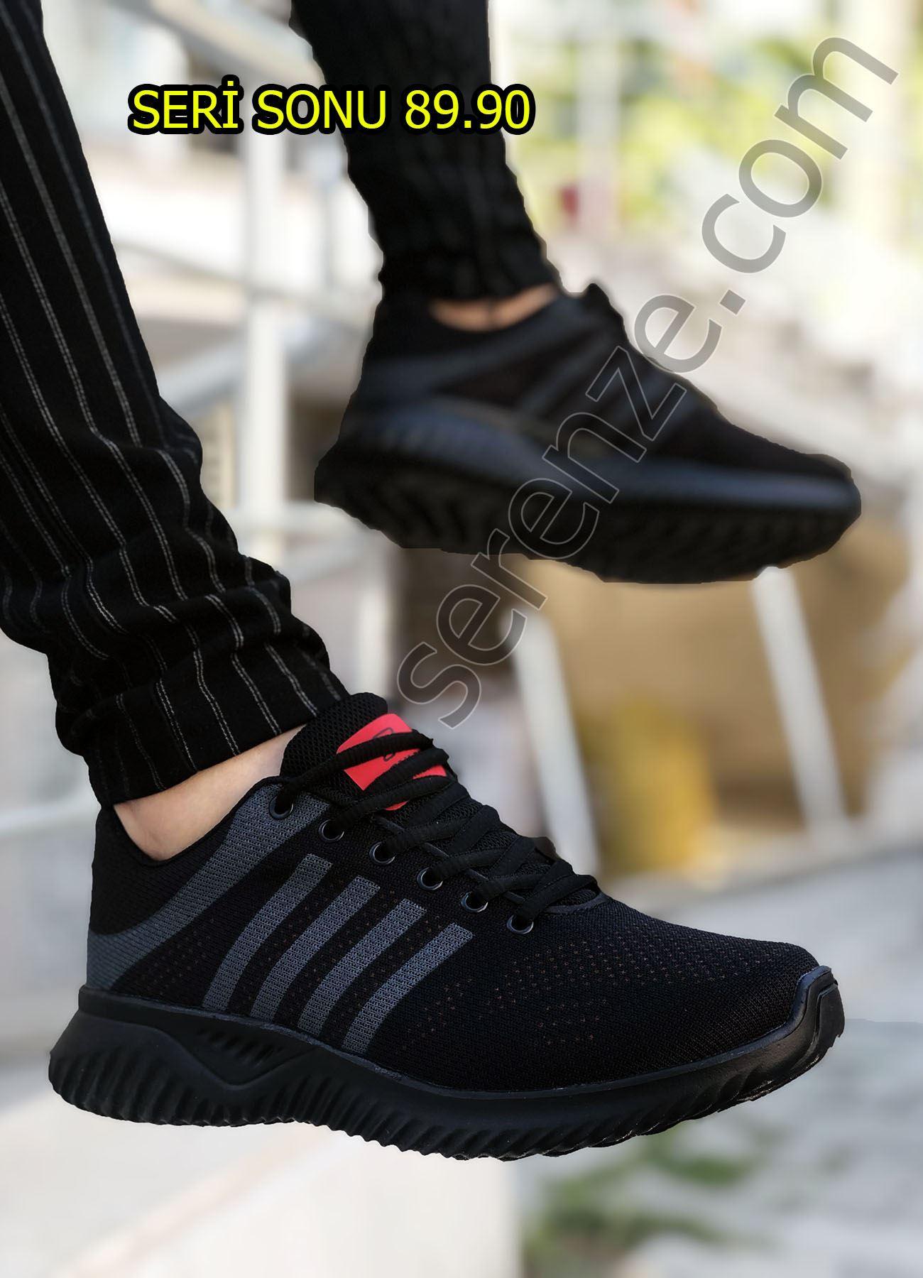 Siyah Füme Çizgili Desen Örme Erkek Spor Ayakkabı