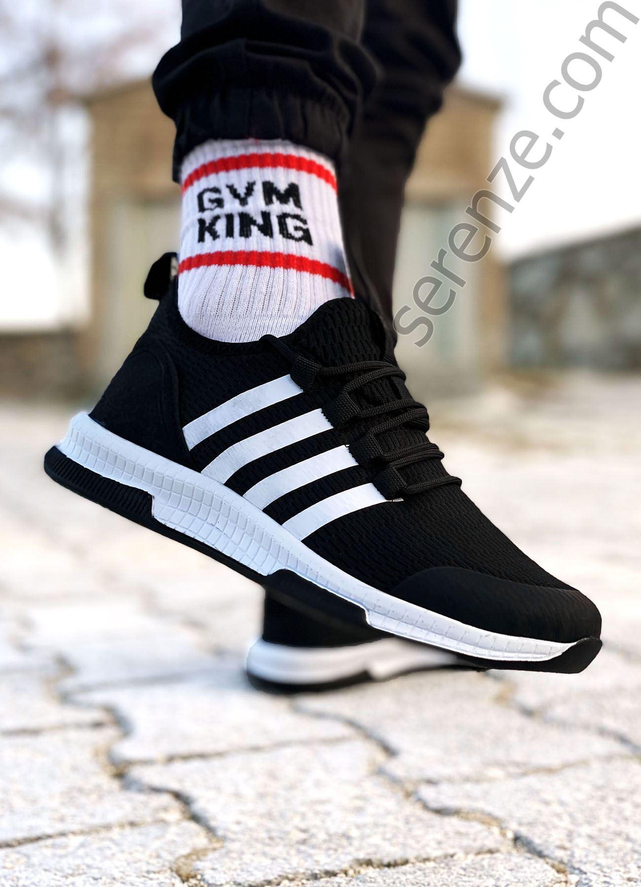 Siyah Beyaz Çizgili Ultra Hafif Triko Erkek Spor Ayakkabı