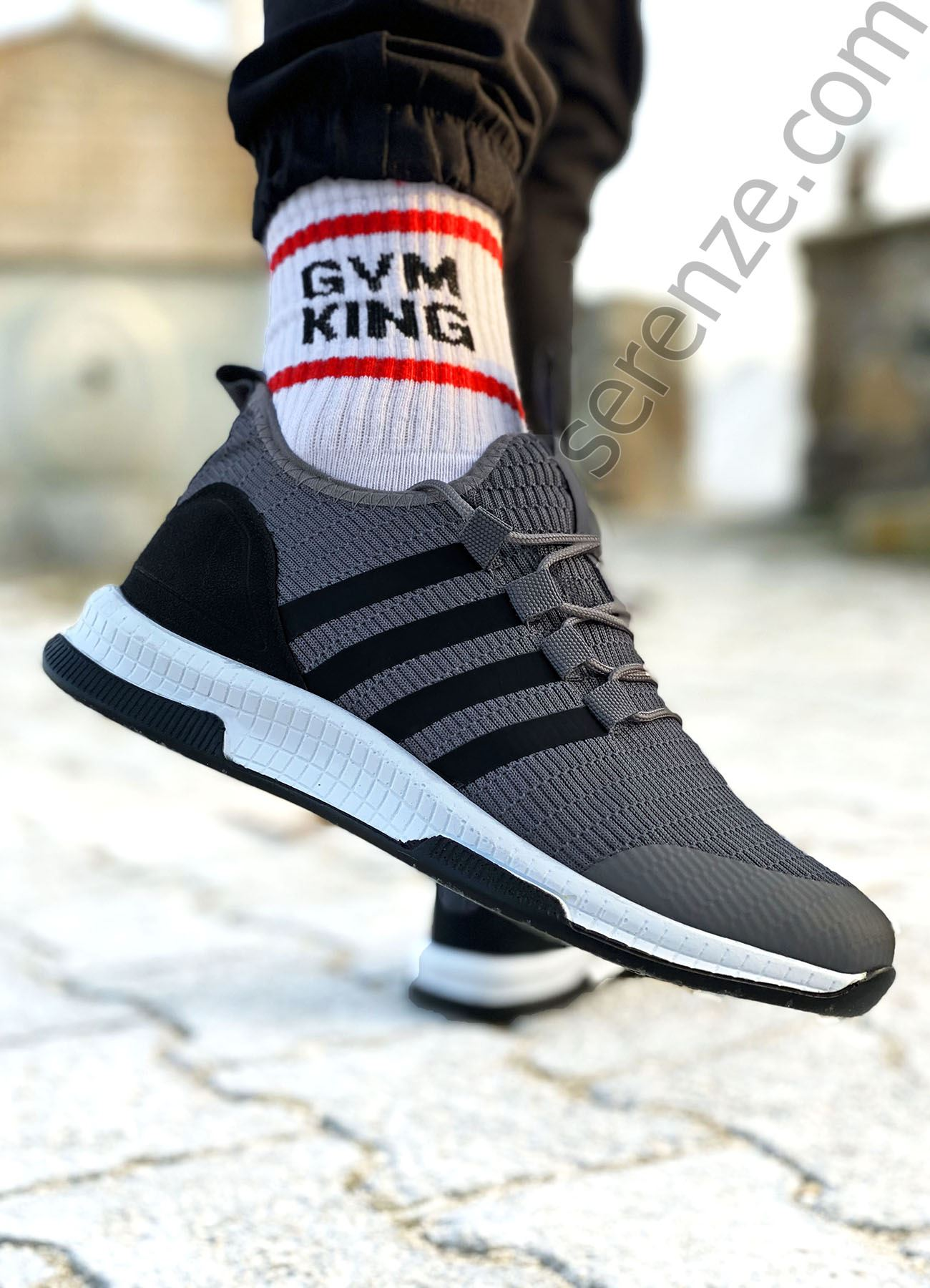 Füme Çizgili Ultra Hafif Triko Erkek Spor Ayakkabı