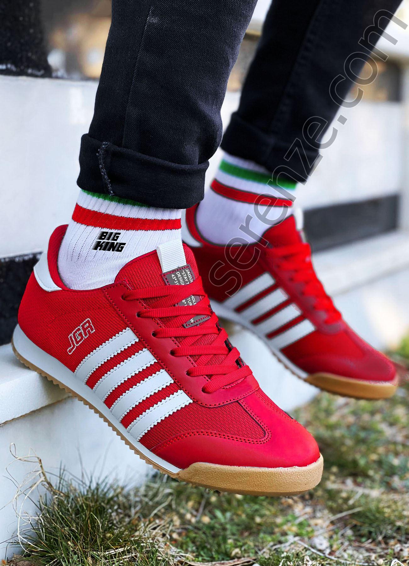 Kırmızı Çizgili Erkek Spor Ayakkabı
